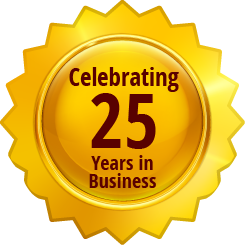celebrating 25 years in business golden badge